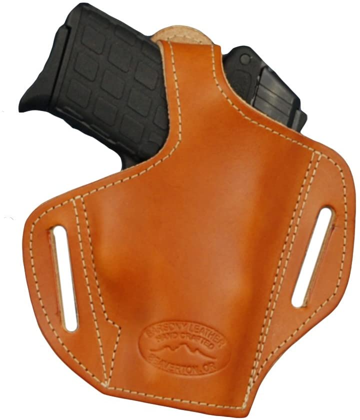 Barsony New Saddle Tan Leather Pancake Holster for 380 Ultra Compact 9mm 40 45