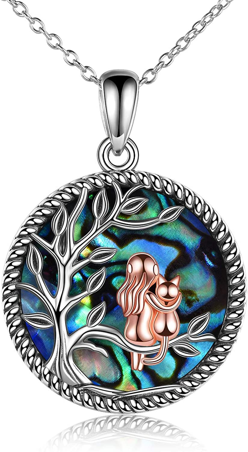 ONEFINITY Sterling Silver Tree of Life Cat Necklace with Abalone Shell Best Friend Cat Pendant Jewelry Birthday Gifts for Women Wife Girlfriend Cat Lovers