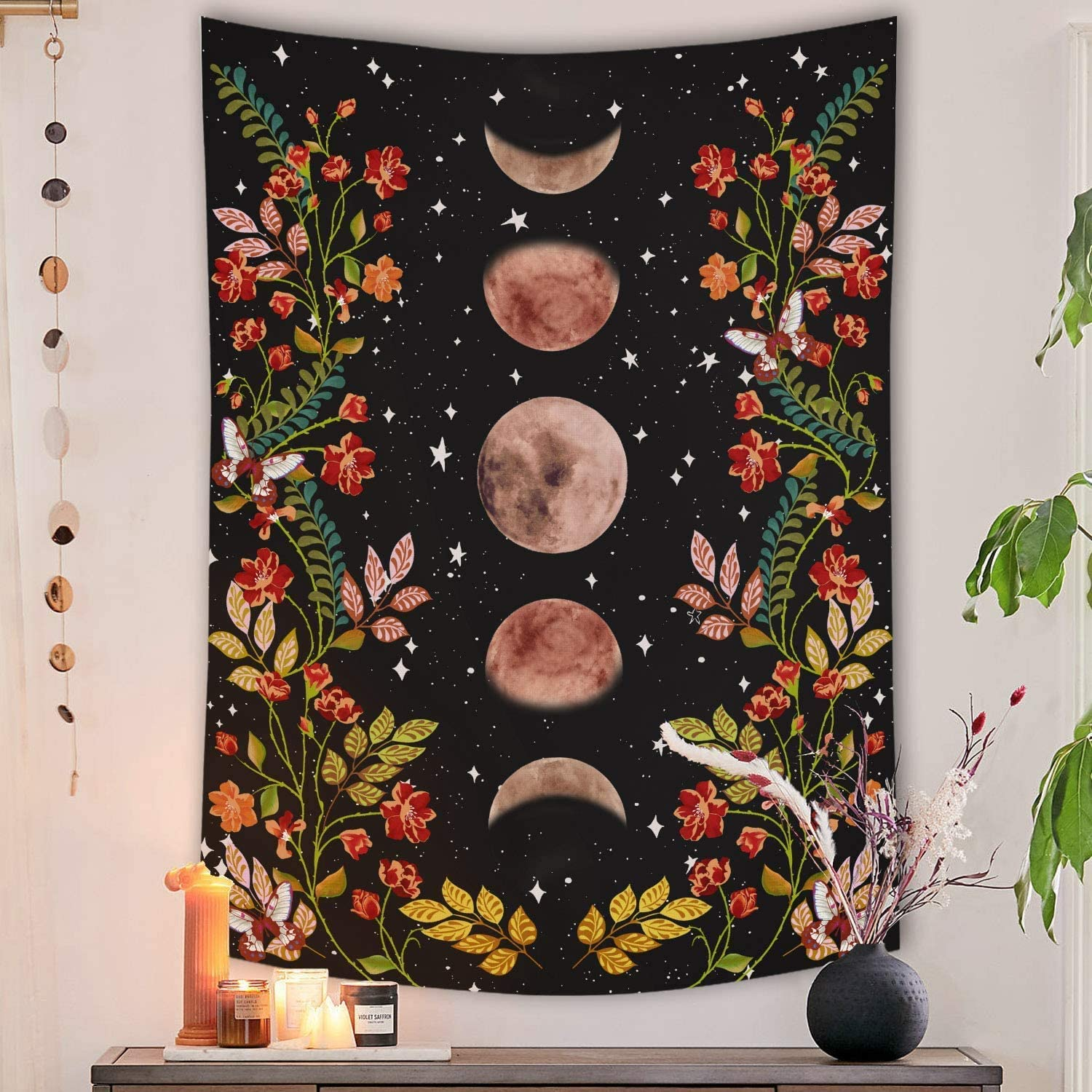Moonlit Garden Tapestry Wall Hanging 50x60 inch Moon Phase Surrounded by Vines and Flowers Tapestries Black Background Flower Tapestry Poster Wall Decor for Dorm Bedroom Living Room by GREENPURE