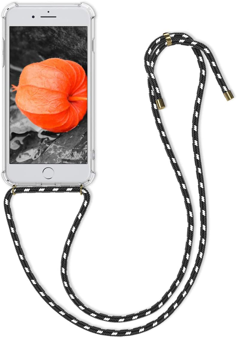kwmobile Crossbody Case Compatible with Apple iPhone 7 Plus / 8 Plus - Clear Transparent TPU Cell Phone Cover with Neck Cord Lanyard Strap - Transparent/Black/White