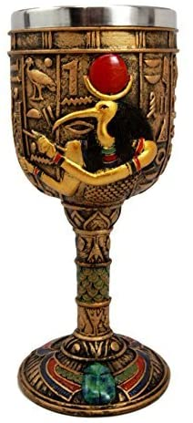 Ebros Ancient Egyptian Wine Goblet In Golden Hieroglyphic Design With Gods Of Egypt Face 6oz 7