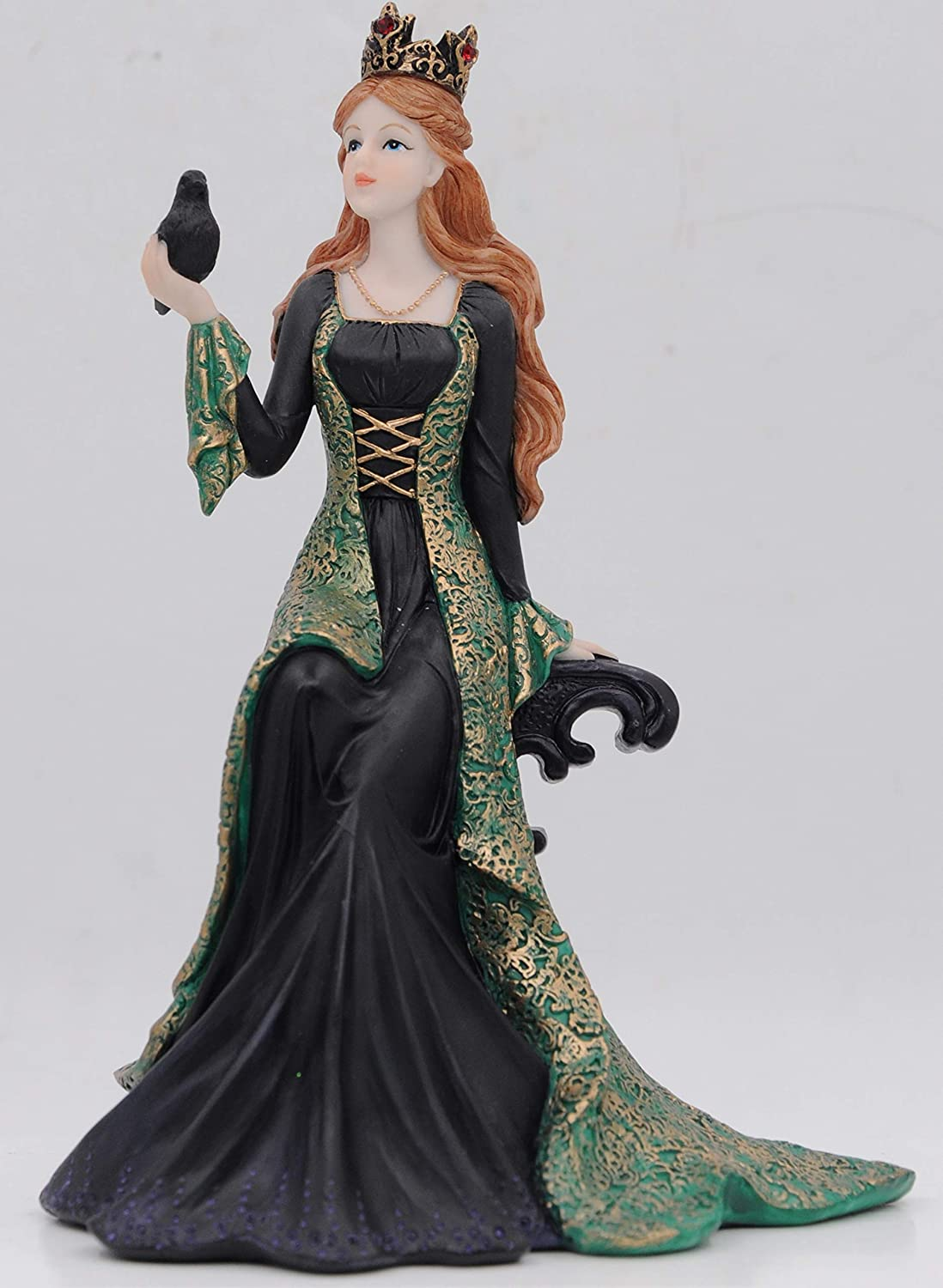 """Comfy Hour 7"""" Irish Princess Queen Green Dress with Crow Resin Figurine for St. Patrick's Day and Everyday Collection"""