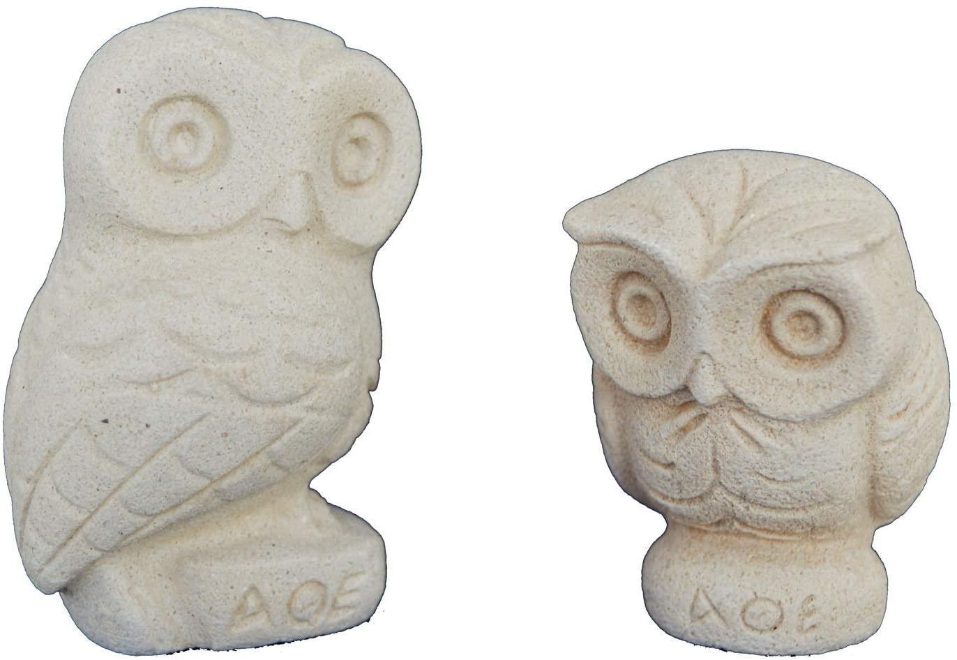 Talos Artifacts Owl Miniature Sculpture Set Goddess Athena Sacred Symbol
