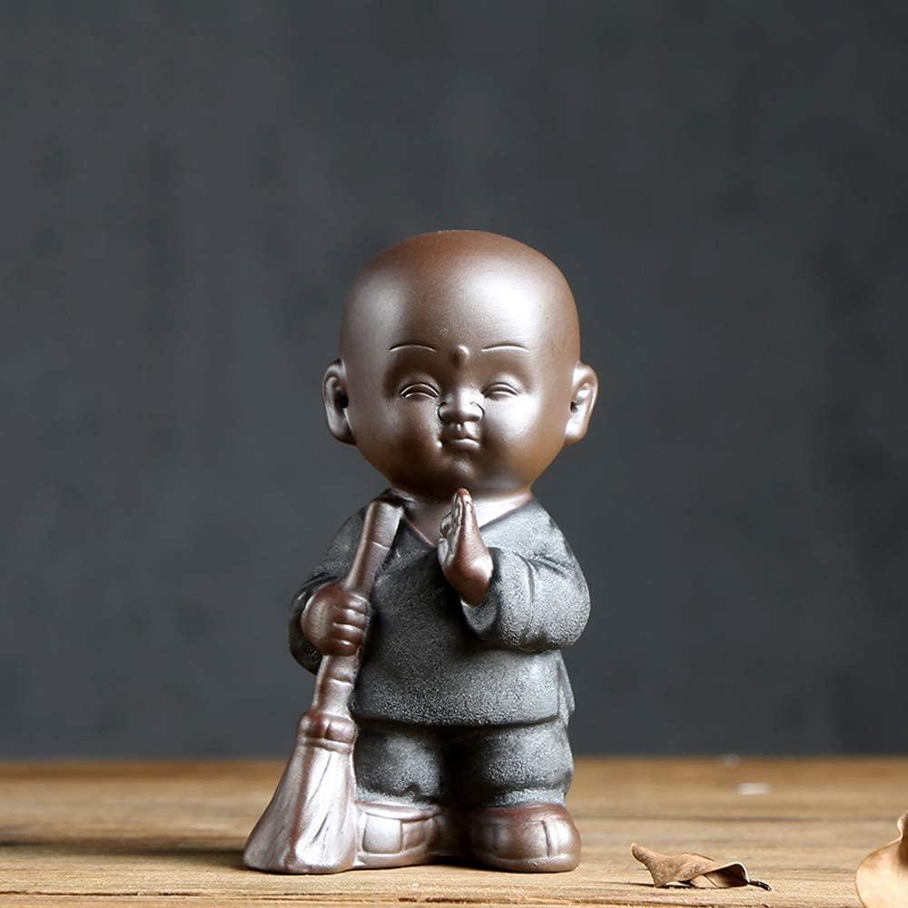 KJYHXX Small Monk Walkers Little Cute Monk Statues (Sweeping Monk)