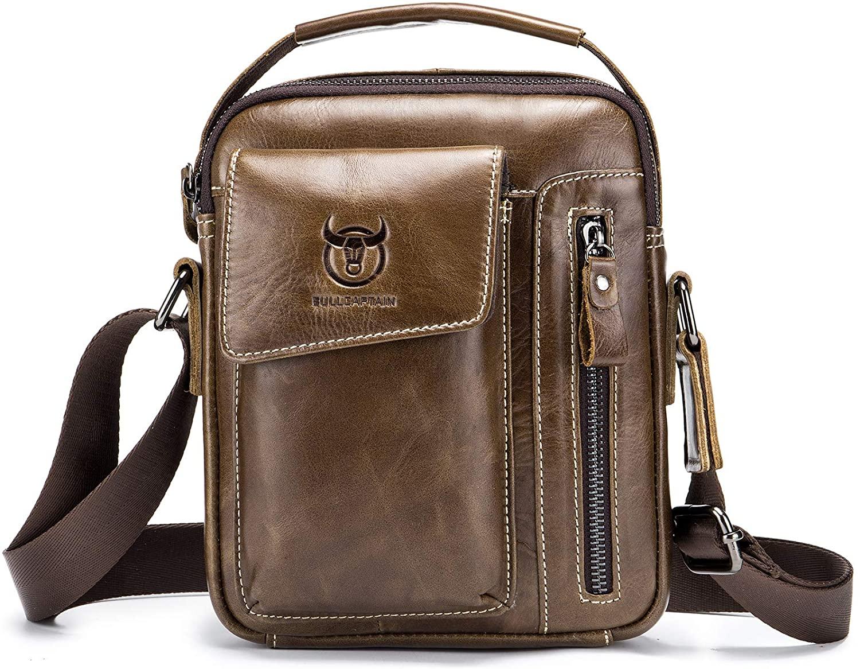 Men's Genuine Leather Shoulder Bag,Classic Vintage Casual Cowhide Messenger Bag