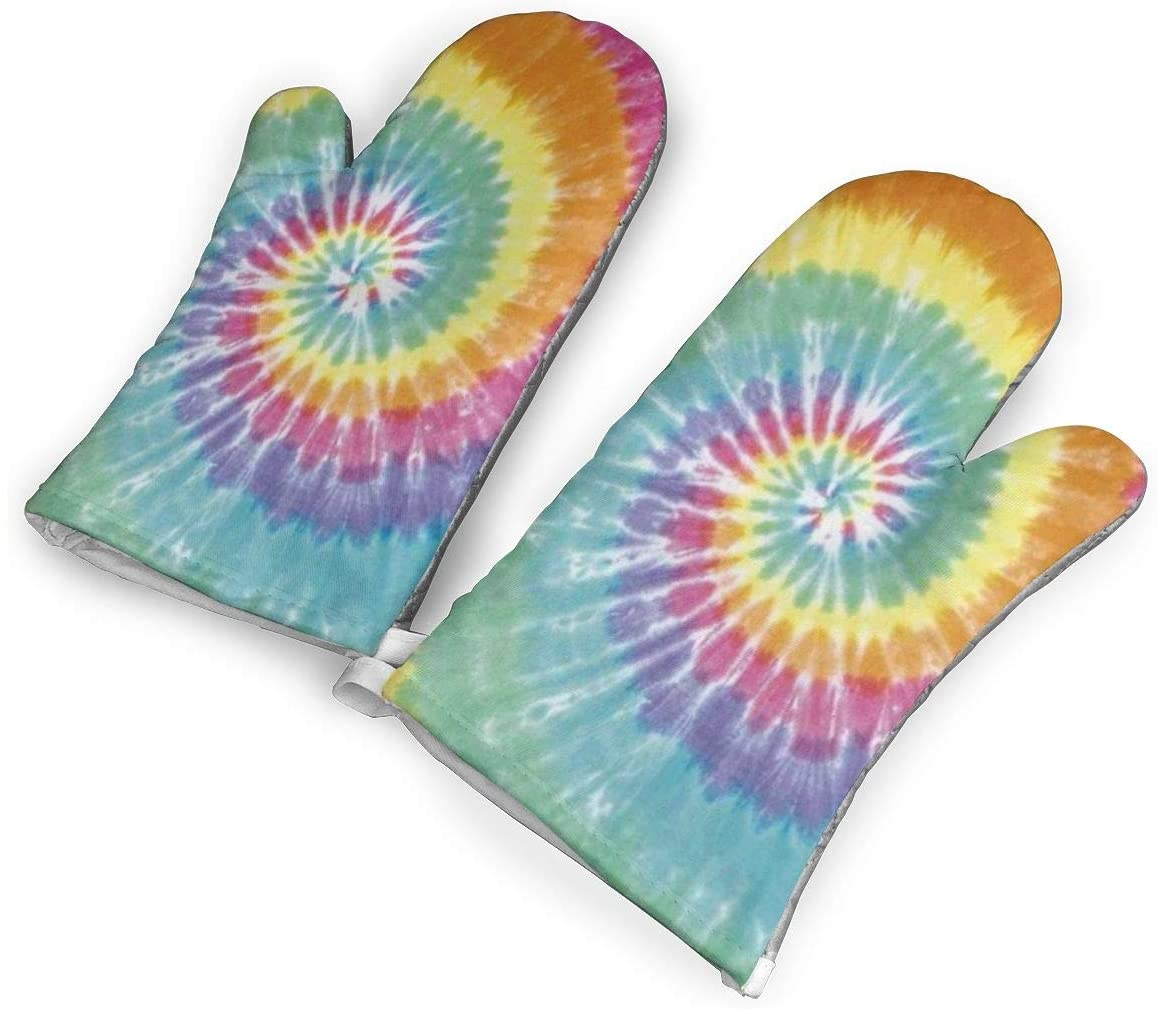 Tie Dye Powder Kitchen Oven Mitts, Cotton Long Microwave Oven Gloves, Extreme Heat Resistant 572 Degrees Nonslip Gloves for Potholders Cooking, BBQ, Frying, Baking (1 Pair)