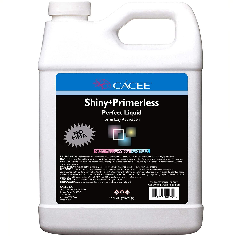 No Primer Acrylic Nail Liquid Monomer 32 oz, Shiny + Primerless Perf.rofessional and Flexible Non-Yellowing Formula, Does Not Contain MMA