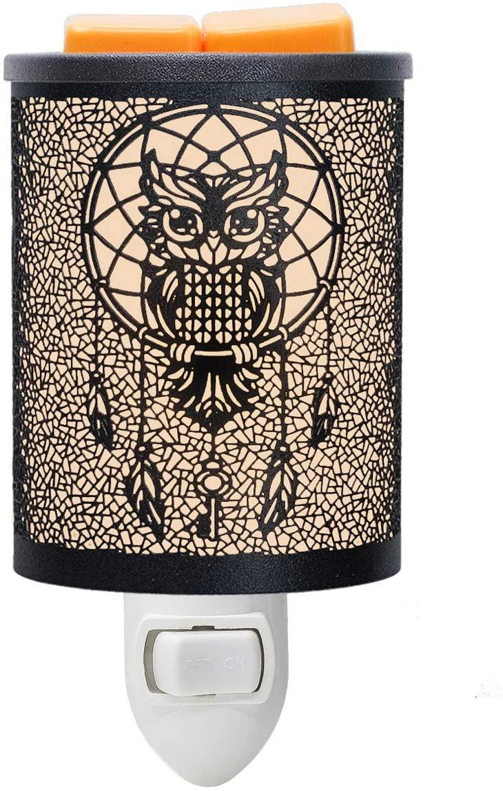 EQUSUPRO Metal Plug-in Wax Melt Warmer Wax Electric Burner Melter Fragrance Warmer Night Light for Home Office Bedroom Living Room Gifts Decor (Owl)