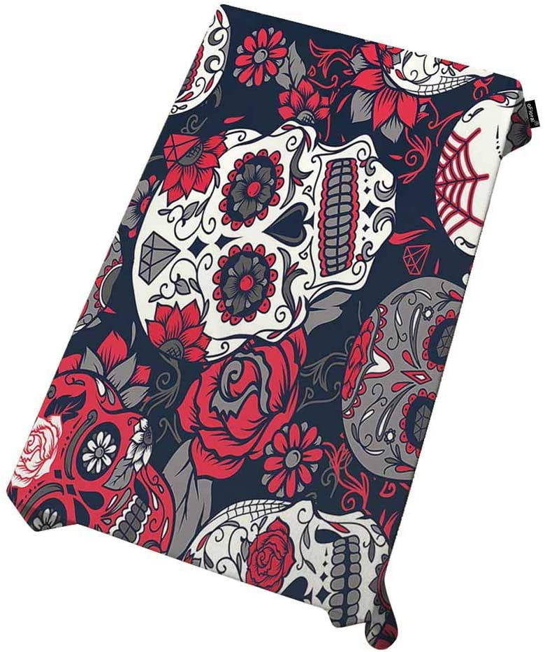 oFloral Tablecloth Skull Indoor/Outdoor Soil Resistant Fabric Day of The Dead Colorful Sugar Skull with Floral Ornament and Flower for Rectangle Tables Cloth in Washable Polyester