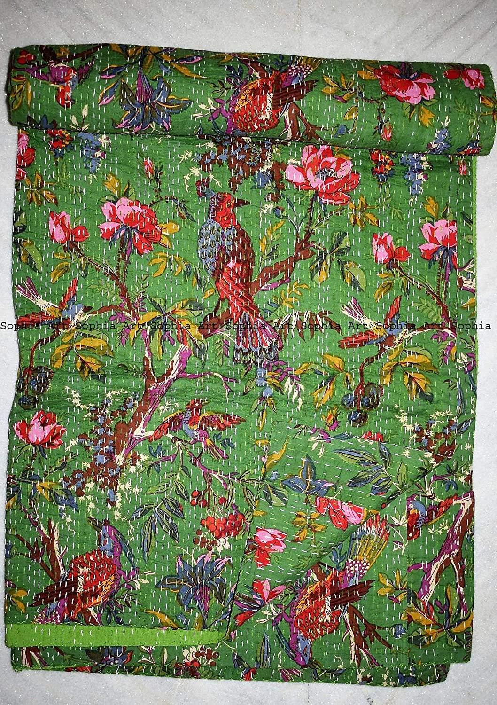 Sophia Art Indian Bohemain Bedding Kantha Vintage Ethnic Cotton Bird Kantha Quilt Coverlet Bedspread Patchwork Stitch Blanket Queen Size Kantha Quilt (Green 2)