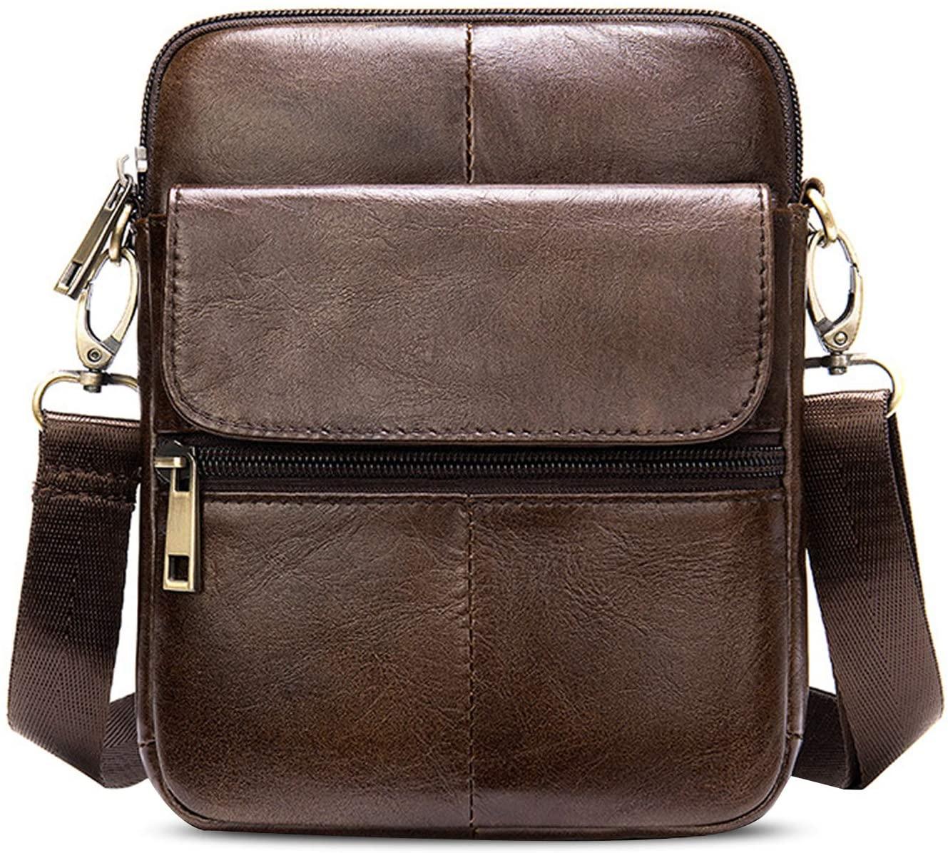 FANDARE Unisex Shoulder Bag Leather Crossbody Purse Crossover Messenger Bag Satchel Bag for Men Women Teens Business Travel School College Campus Backpack Dark Brown
