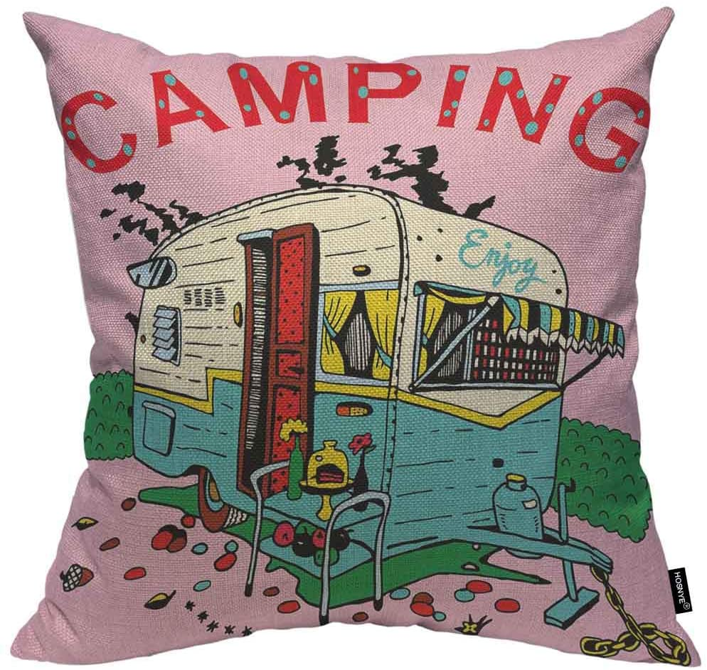 HOSNYE Camping Trailer Cotton Linen Throw Pillow Case Retro Style Cartoon Hand Drawn Pillow Cushion Cover Home Sofa Decorative 18x18 Inch