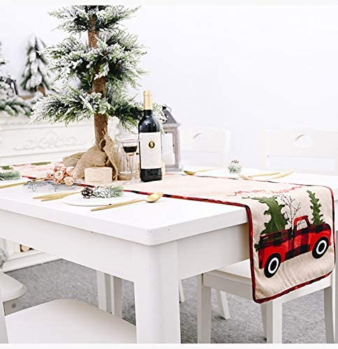DAJAMAI Christmas Holiday Tabletop & Kitchen Burlap Placemat Set, Holiday Party Place Mats for Xmas Decoration (5)