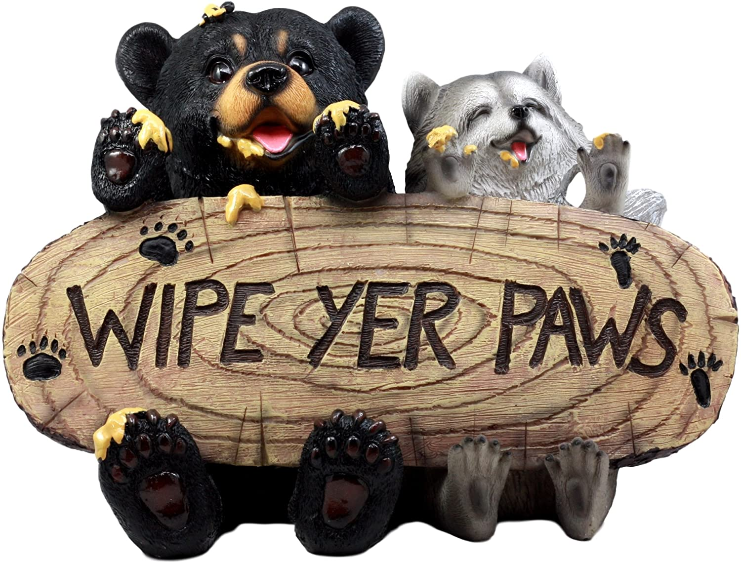Ebros Gift 13 Long Black Bear and Raccoon Feasting On Honey Welcome Statue Wipe Your Paws Guest Greeter Cleanup Reminder Decorative Figurine Decor