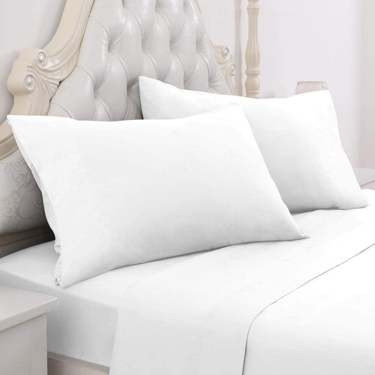 HOMEIDEAS 6 Piece Bed Sheet Set (King, White) 100% Brushed Microfiber 1800 Bedding Sheets - Deep Pockets