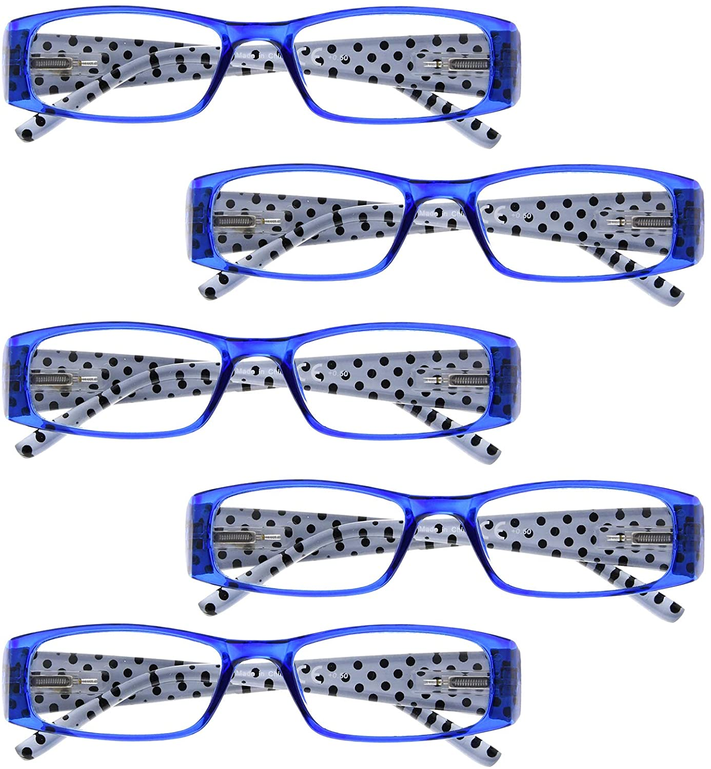 BFOCO 5 Pairs Spots Stylish Patterned Spring Hinges Ladies Reading Eyeglasses Women