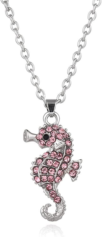 Liavy's Pink Seahorse Charm Pendant Fashionable Necklace - Sparkling Crystal - 17