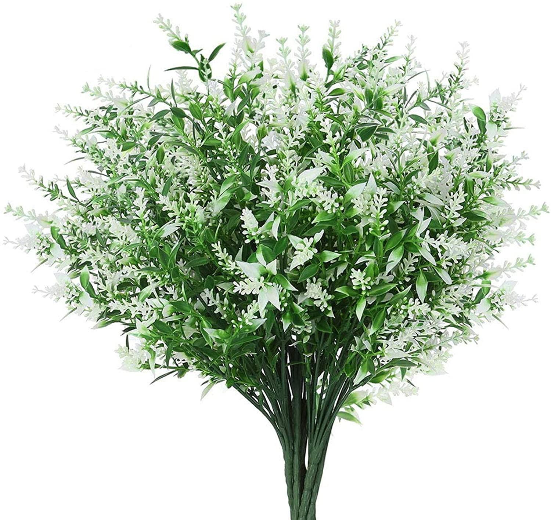 AngleLife Artificial Lavender Flowers, Lavender Bouquet in Purple Artificial Plant for Home DIY Decor, Wedding, Garden, Office Decor (8 Bundles, White Lavender)