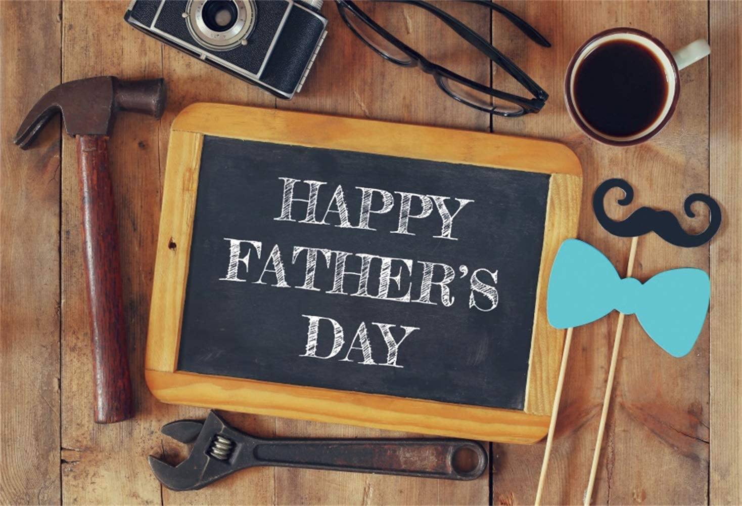 Leowefowa Happy Father's Day Backdrop 5x3ft Vinyl Old Wrench Hammer Camera Coffee Blackboard Photography Background Father's Day Party Banner Photo Booth Greeting Card