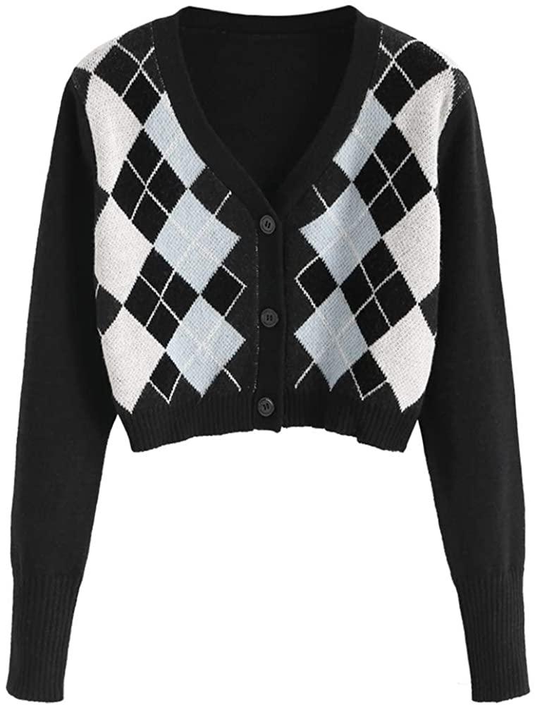 ZAFUL Women's Button Down Long Sleeve V-Neck Rib-Knit Cropped Cardigan Sweater