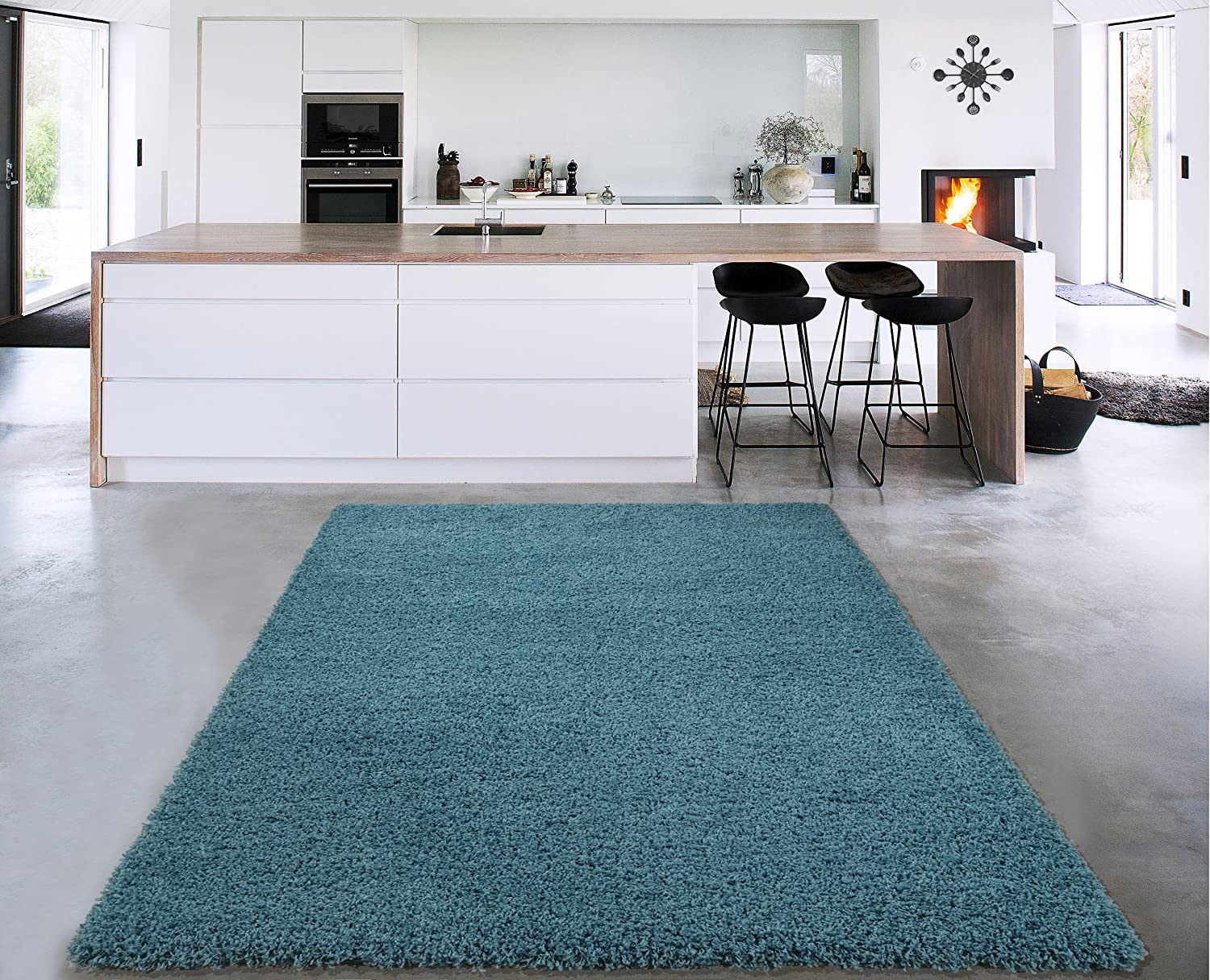 Cozy Shag Collection Turquoise Blue Solid Shag Rug (3'3