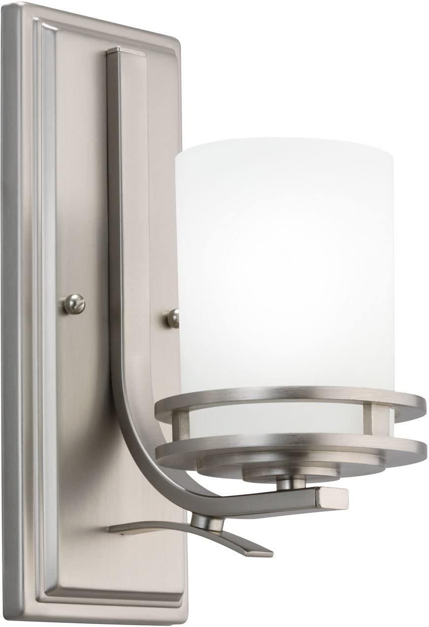 Kichler 5076NI, Hendrik Reversible Glass Wall Sconce Lighting, 1 Light, 100 Watts, Brushed Nickel