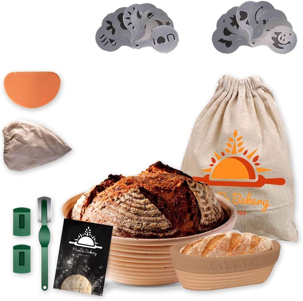 Menba Bread Proofing Basket Set Of 2 - 9 Inch Round Mini Oval Banneton Set For Sourdough - Rising Rattan Brotform 6 Pcs- Includes Extra Linen, Bread Lame, Dough Scrapper, 16 Pcs Stencils and Cloth Bag