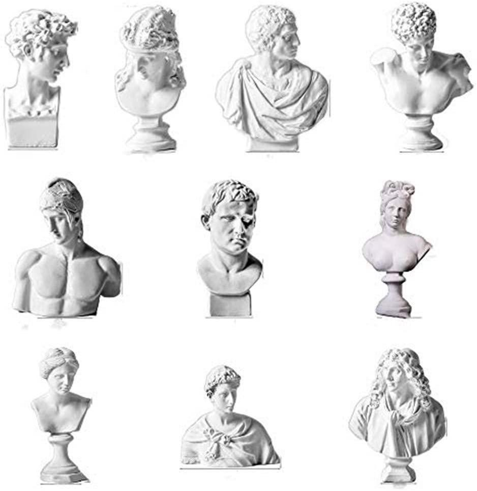 Milifeel 1 Set Practice Greek Mythology Figurine Plaster Bust Statue Home Decoration,10pcs Famous Sculpture Gypsum Portraits Desktop Ornament