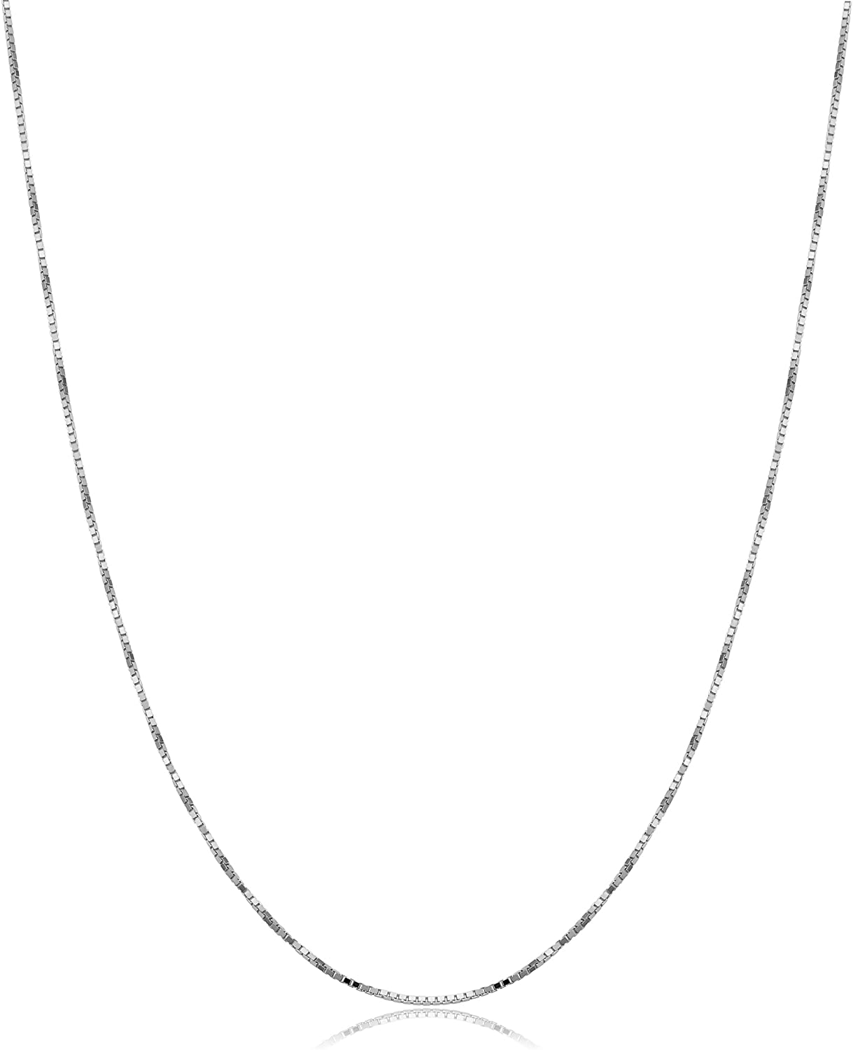 Kooljewelry 10k Yellow Gold or White Gold 0.7 mm THIN Box Chain Necklace for Women (16, 18, 20, 22, 24 or 30 inch)