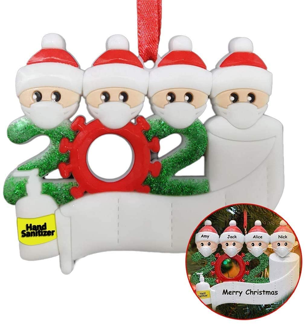 LingGui Christmas Ornament 2020Y Name Blessing Resin Snowman Christmas Tree Hanging Pendant (4 Person)