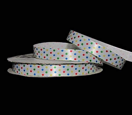 Ribbon for Wedding Gift Bouquets - Wrapping - Party Decorations - DIY Crafting 4 Yards Primary Red Blue Green Yellow Polka Dot Narrow Satin Ribbon 3/8