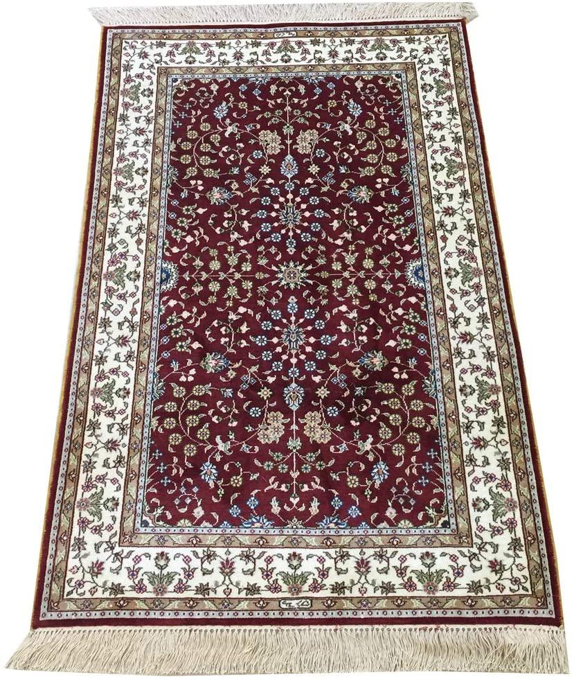 Yilong 2.5' x 4' Red Vintage Carpet Handmade Persian Oriental Silk Carpet Mat