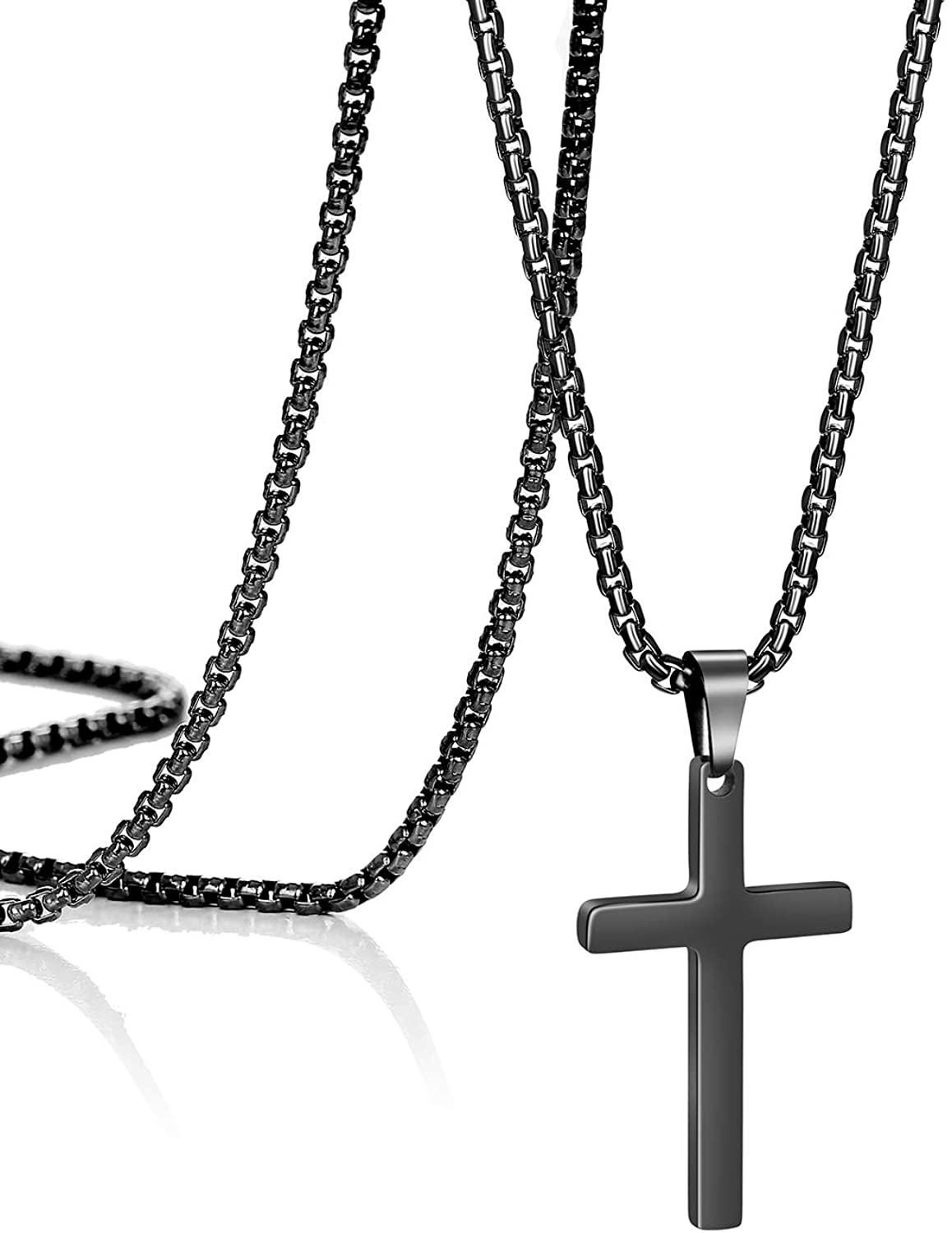 Joycuff Cross Pendant Necklace for Mens Women Cute Danty Christian Faith Necklaces Jewelry Gifts for Girls Men with Box Chain 16 18 20 22 24 Inches