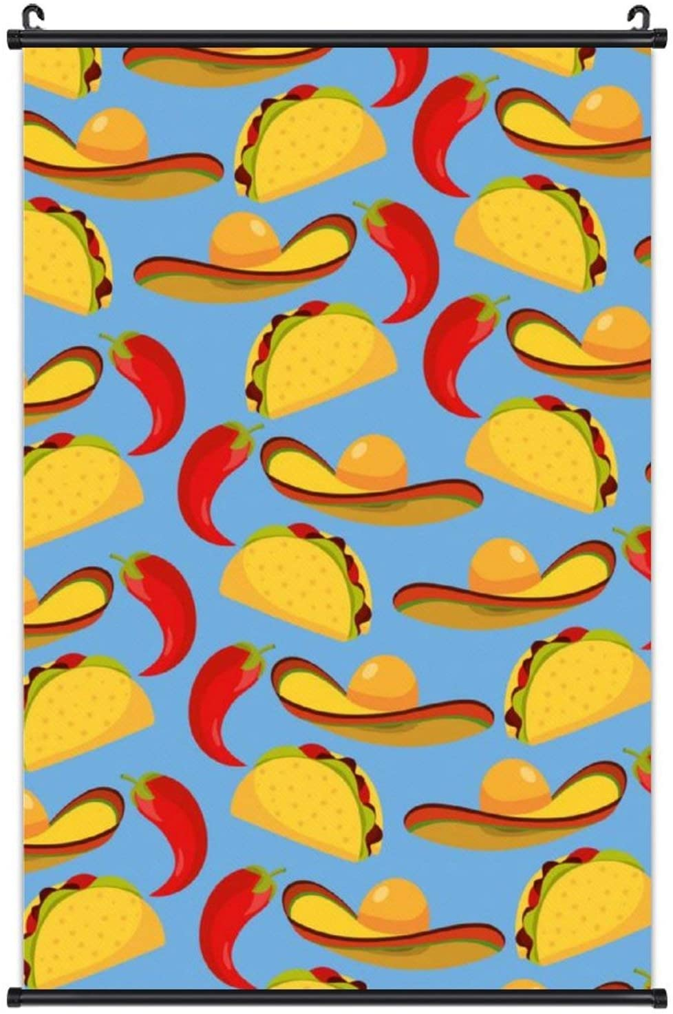 NiYoung Wall Art Painting Hanging Poster Canvas Prints Decor Printed On Canvas Scroll Hanger Painting Room Wall Decor - Mexican Chill Pepper Tacos Food with Hat
