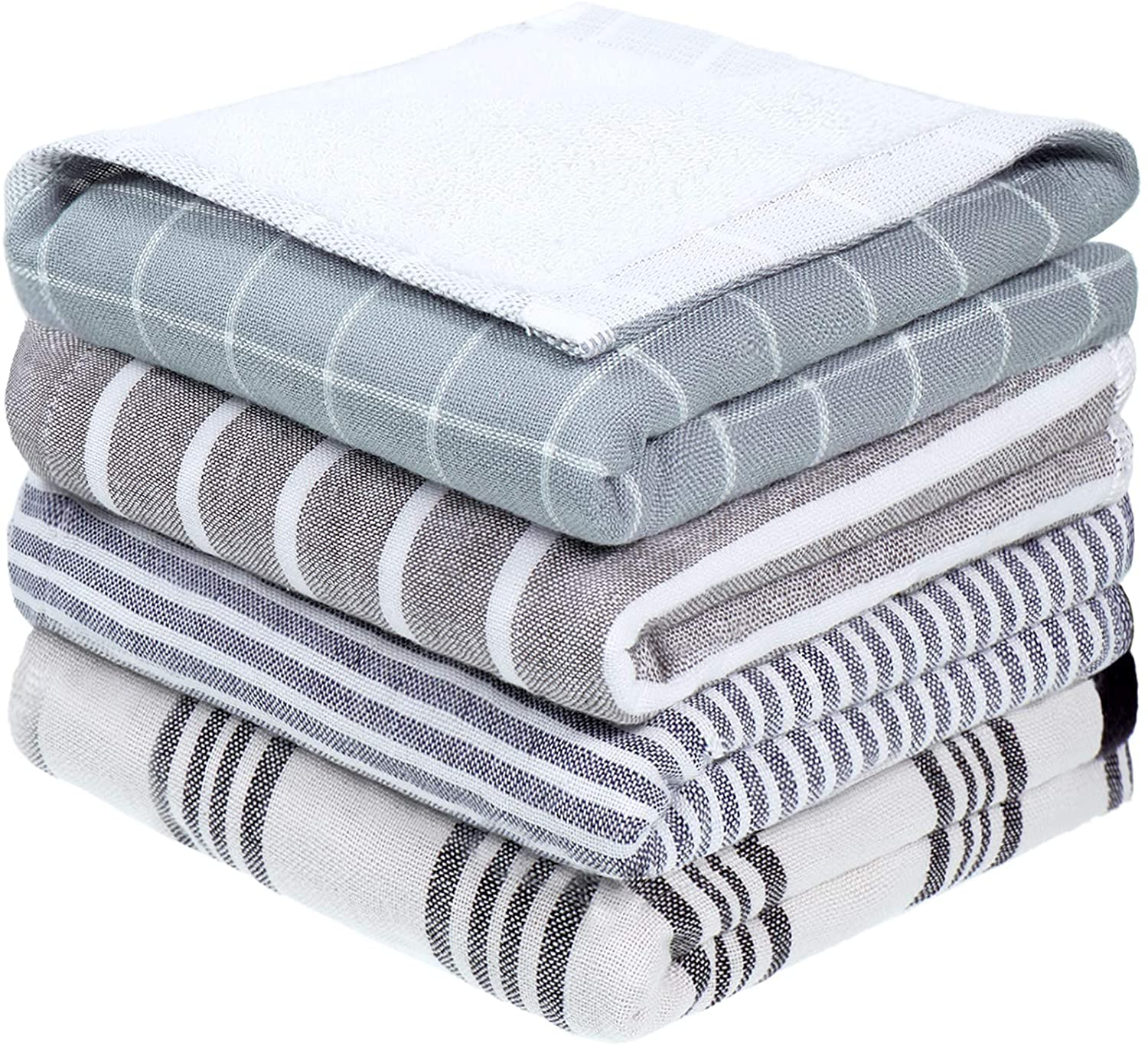 4 Pieces Kitchen Dish Towels Cotton Fabric Kitchen Cleaning Dish Rag Plaid and Stripe Designed Absorbent Tea Towel for Home Household Kitchen Supplies, 14 x 30 Inch