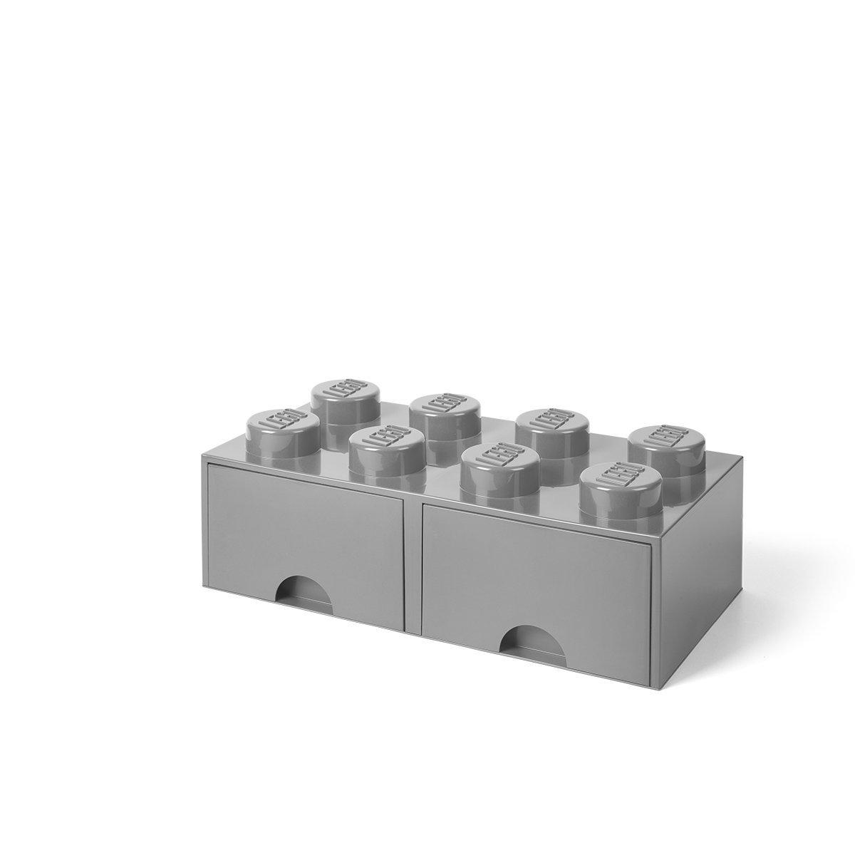 LEGO Brick Drawer, 8 Knobs, 2 Drawers, Stackable Storage Box, Medium Stone Grey