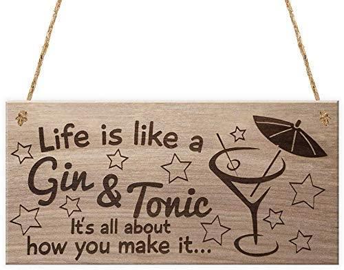 INNAPER Life is Like a Gin and Tonic Wooden Plaque Signs Wall Hanging Craft Home Decor Art 12x6(49BW2248)