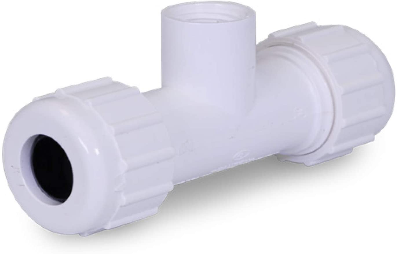 Midline Valve PVC Compression Tee Pipe Fitting with FIP Branch 1-1/2'' White Plastic (592DU112)