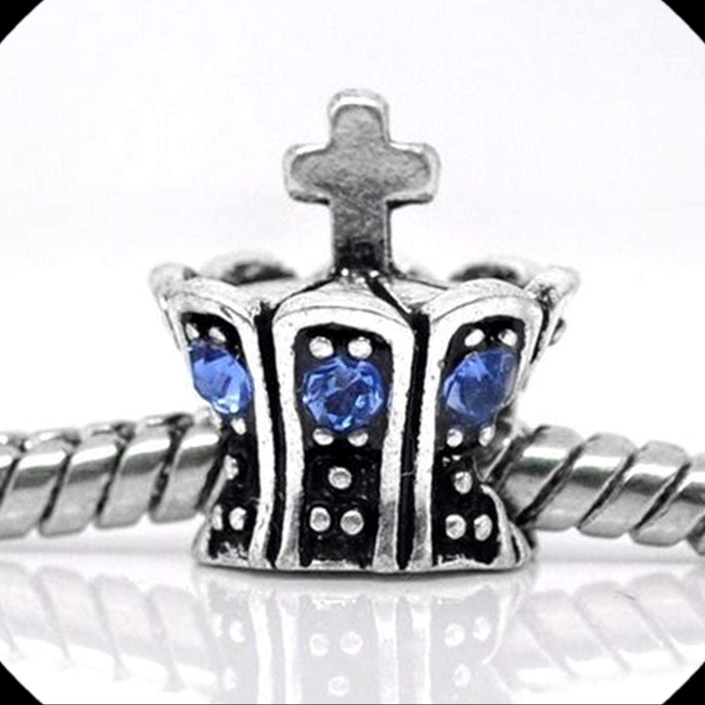Blue Rhinestone Crown with Cross Antiqued Silver Large 4.8mm Hole Charm Bead 1pc Adorable Charms and More for Your own Designs by CharmingStuffS
