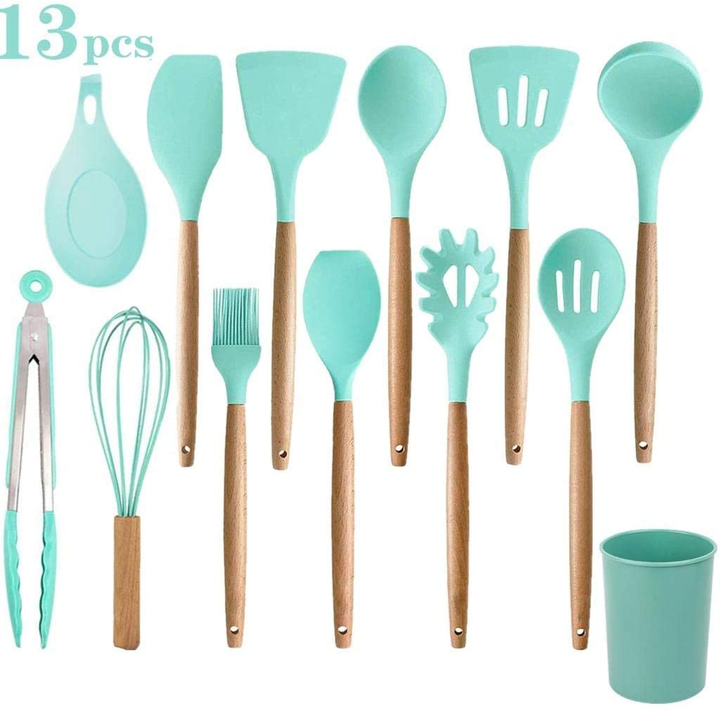 WayJaneDTP Silicone Cooking Utensils Set, 13Pcs Non Stick Cookware with Wooden Handle Non Stick Cookware Kitchen Gadgets Cooking Tools BPA Free, Light Green