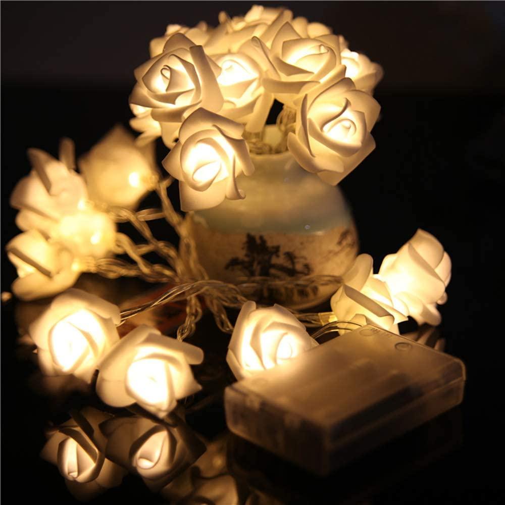 10 L-E-D String Lights Operated Premium String Romantic Flower Rose Fairy Light Lamp for Valentine's Day, Wedding Room Garden Christmas Patio Festival Party Decor