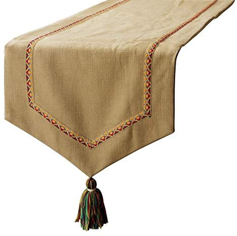 Jute Table Runner, Jute Textured Fabric with Lace & Tassels Beige Jute & Cotton 14 x 48 inch Long, Wedding Decor Table Linen Modern Table Runner - Jute Vibes