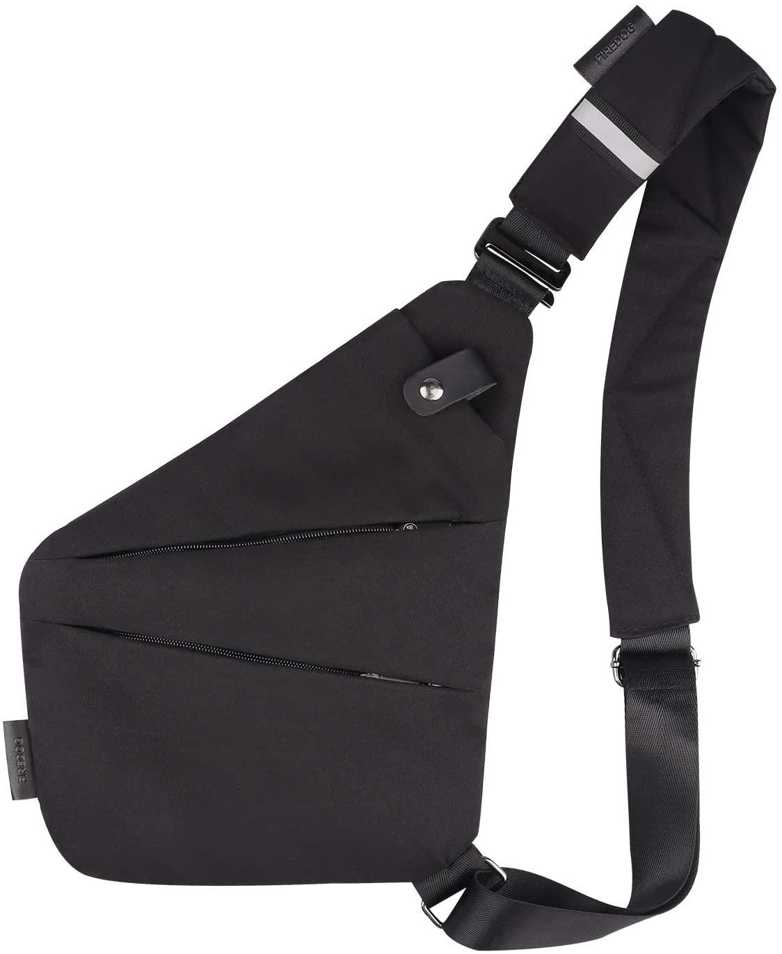 FIREDOG Smell Proof Shoulder Bag, Smell Cross Body Bag for Travel (Black)