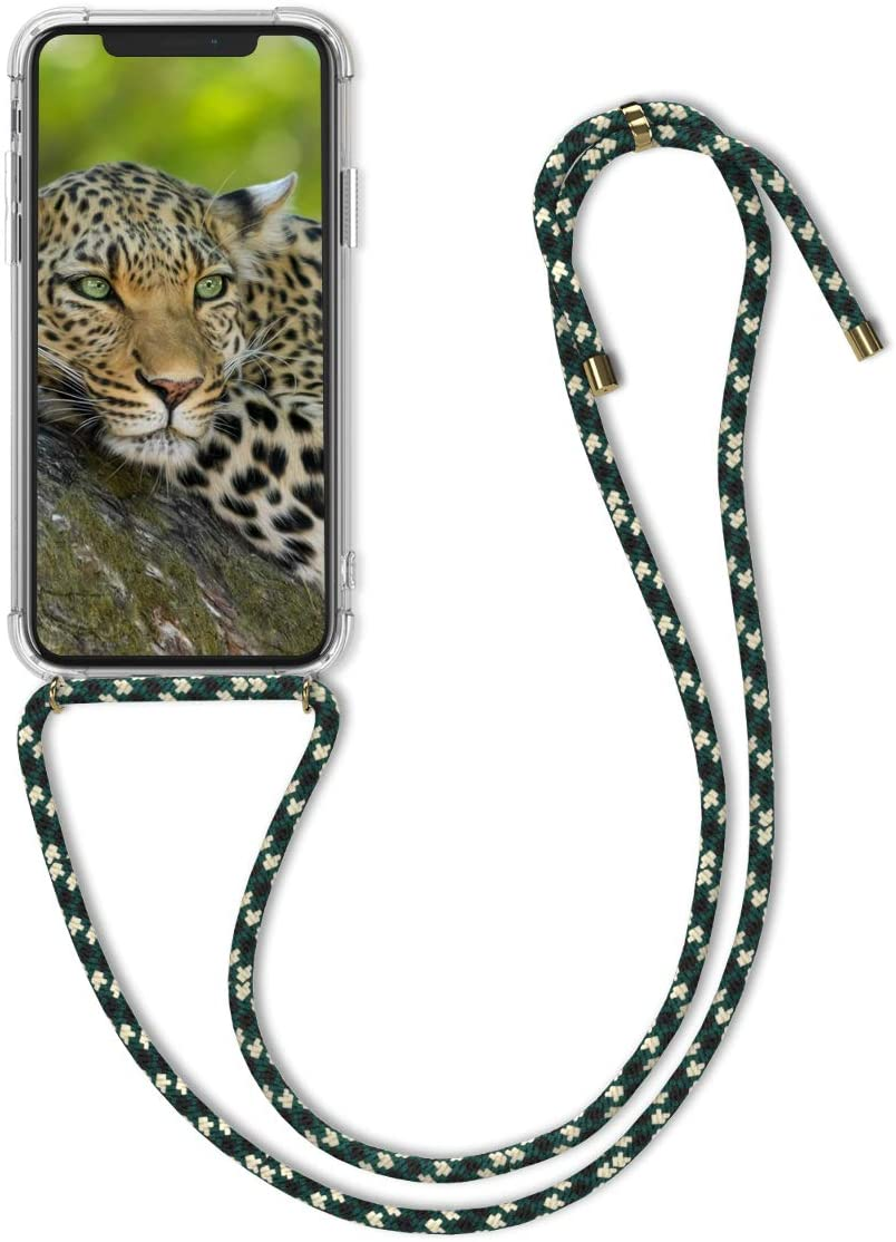 kwmobile Crossbody Case Compatible with Apple iPhone X - Clear Transparent TPU Cell Phone Cover with Neck Cord Lanyard Strap - Transparent/Green/White