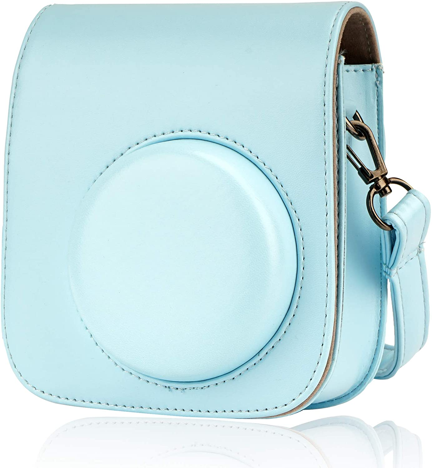 Camera Case fit to Instax Mini 11 Instant Camera, Alohallo PU Leather Protective Case with Removable Strap - Sky Blue