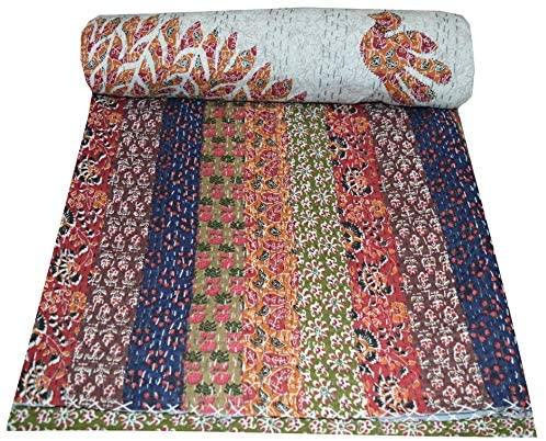 V Vedant Designs Cut Work Kantha Quilt Ajrakh Print Queen Cotton Kantha Quilt Throw Gudari, 220x270 cm, Multi-Color