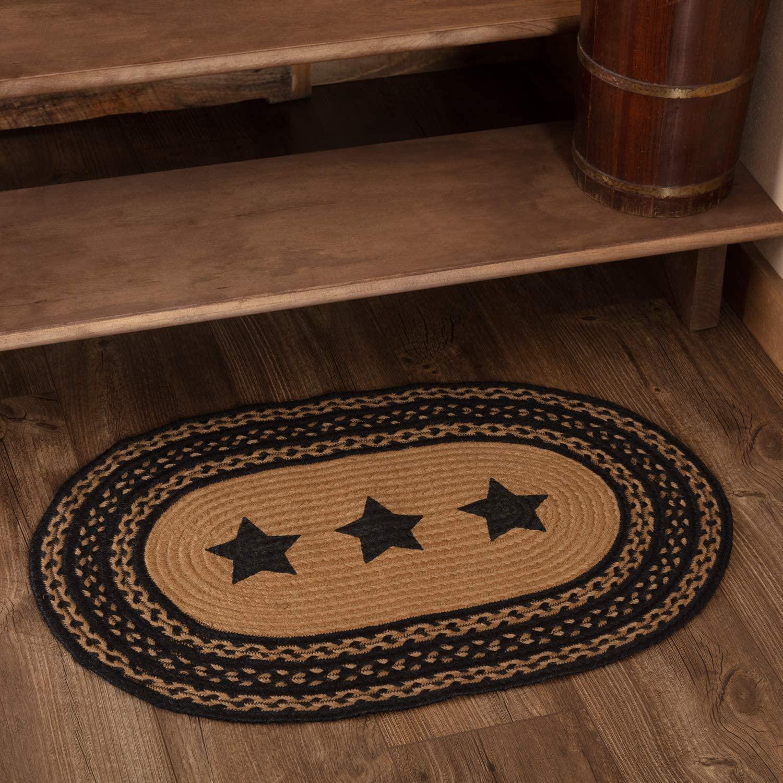 Farmhouse Star Stencil Star Braided Jute Rug, Oval - 20x30