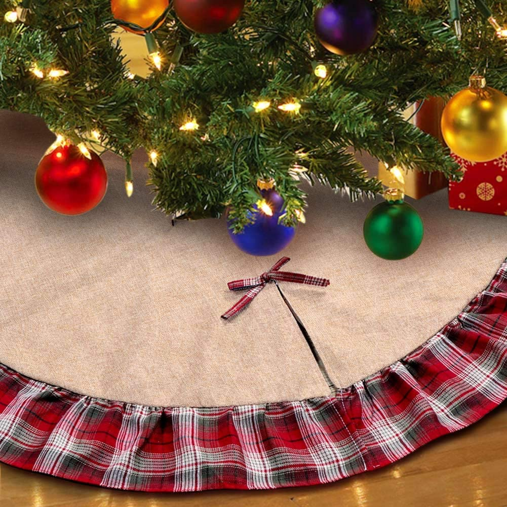 Christmas Tree Skirt, 48 inches Red and Black with Bowknot Ruffle Edge Border Xmas Holiday Decoration Double Layers a Fine Decorative Handicraft for Holiday Party
