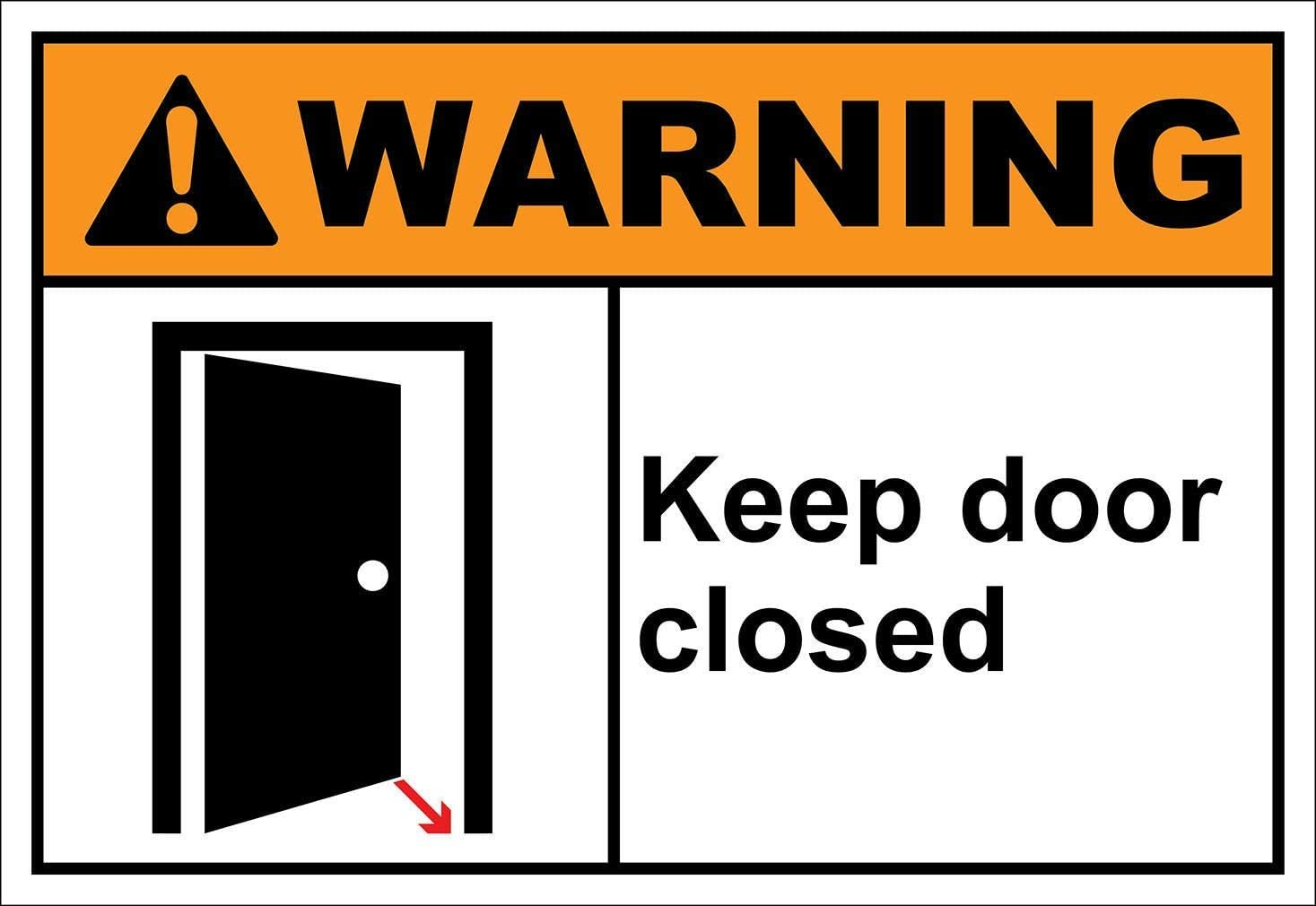Keep Door Closed Warning,Warning Traffic Safety Notice Road Street 12'' X 16'' Metal Tin Sign