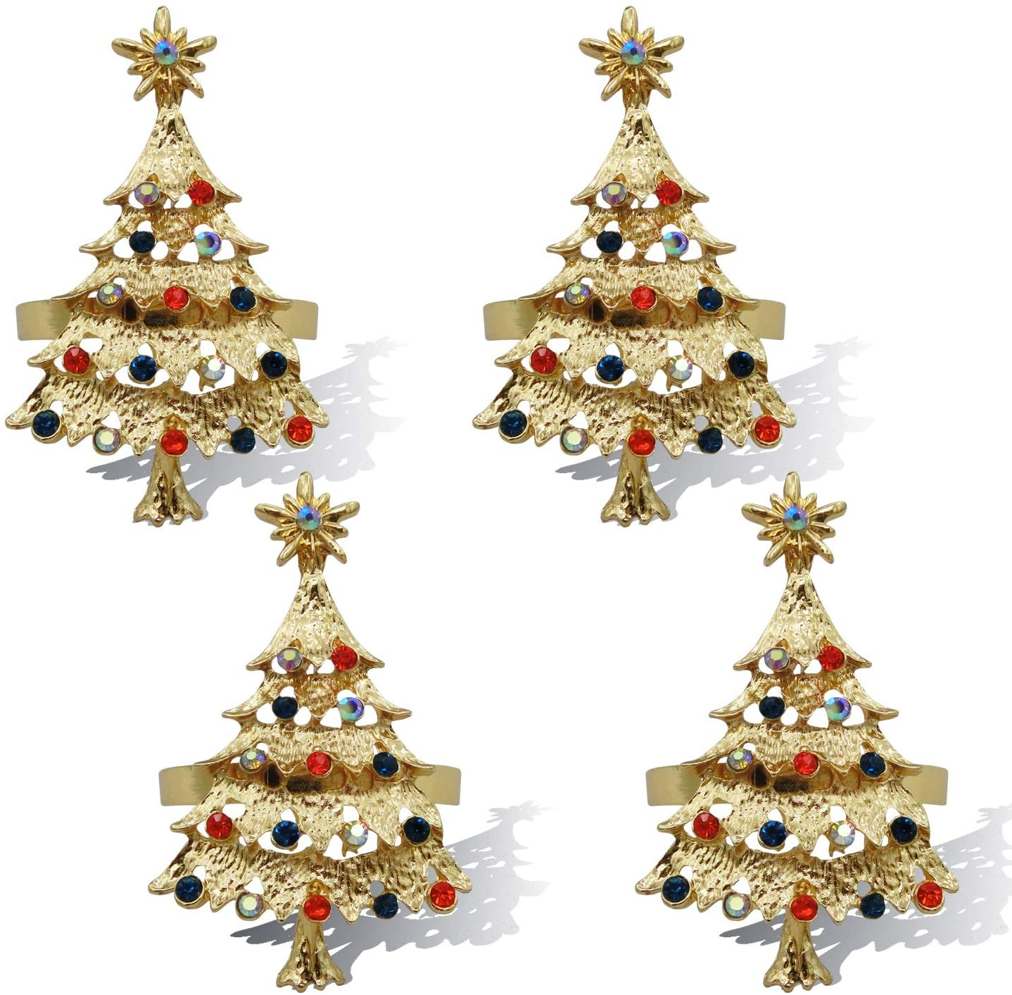 JulyLab Christmas Napkin Rings Set for Home Kitchen Table Settings Decoration Adornment, (Christmas Tree - Gold, 4)